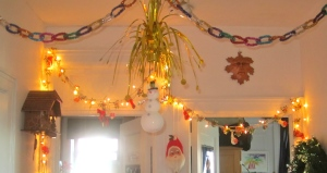Radko Chain Link Garland hanging at Christmas