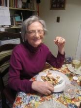 Mom enjoying her pizza