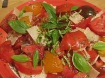 TaDa! My Mushy Tomato and Pale Green Leaves of Basil Salad