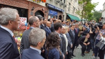 Some forty UN Diplomats having their picture taken yesterday outside the StoneWall Inn