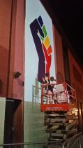 A friend's FaceBook Post of a New Mural going up  in Greenwich Village, New York.