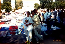 Volunteering at the AIDS QUILT on the Great Lawn of the White House, with my friend SHARE in 1996