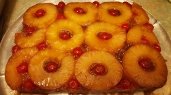 MOM has an Aide helping her now. The Woman is Jamaican and so I made a Jamaican Rum Coconut Pineapple Upside Down Cake this Year. You can find the recipe here: http://cooklikeajamaican.com/pineapple-upside-down-cake/