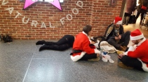 One of many Drunk Santa-Con-Artists passed out in Penn Station last Saturday for the children to see