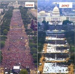 From the Internet, a comparison of the crowds present at the last two Inaugurations for a new President